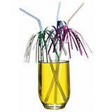 """Трубочки для коктейля Susy Card """"Дождь"""" 10 шт, разноцветные с фольгой"""