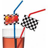 """Трубочки для коктейля Susy Card """"Гонки"""" 10 шт, разноцветные со стикерами"""