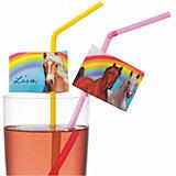 """Трубочки для коктейля Susy Card """"Лошадки"""" 10 шт, разноцветные со стикерами"""
