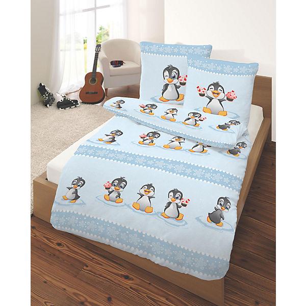 Kinderbettwäsche Pinguine Biber 135 X 200 Cm Mytoys