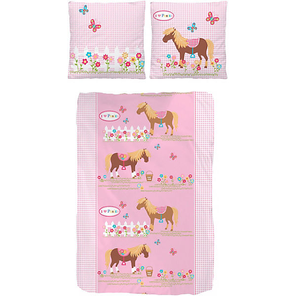 wende kinderbettw sche pony biber 135 x 200 cm mytoys. Black Bedroom Furniture Sets. Home Design Ideas