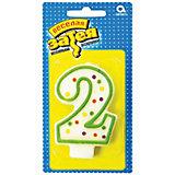 """Свеча для торта Веселая затея """"Цифра 2"""", 7,6 см"""