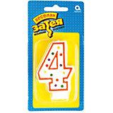 """Свеча для торта Веселая затея """"Цифра 4"""", 7,6 см"""