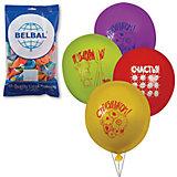 """Воздушные шары 12 Веселая затея """"Поздравления"""" 50 шт, 30 см (8 рисунков, 12 цветов)"""