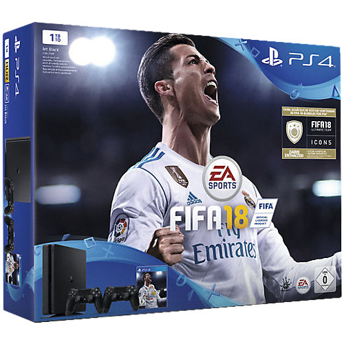 Sony PS4 Playstation 4 Grundgerät Slim 1 TB + Fifa18 2.Controller