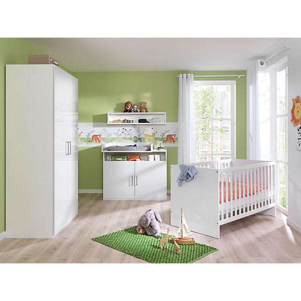 Komplettkinderzimmer Baby Glossy 4-tlg, Alpinweiß/ Kristallweiß ...