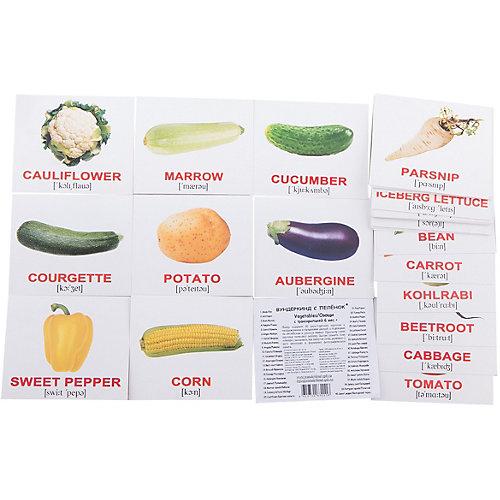 """Набор обучающих мини-карточек Вундеркинд с пелёнок """"Vegetables/Овощи"""", двухсторонний 40 штук от Вундеркинд с пелёнок"""