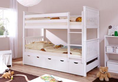 Etagenbett  Etagenbett René, Kiefer massiv weiß, 90 x 200 cm, TICAA | myToys