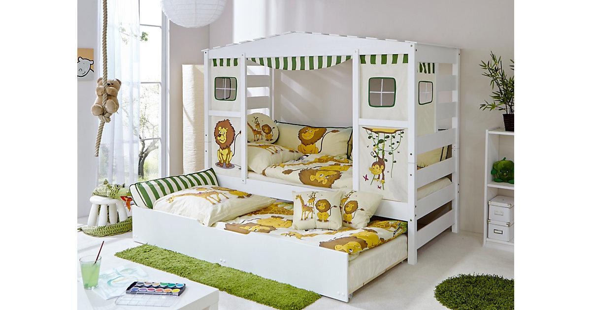 TICAA · Hausbett Safari mit Zusatzbett, grün, 90 x 200 cm