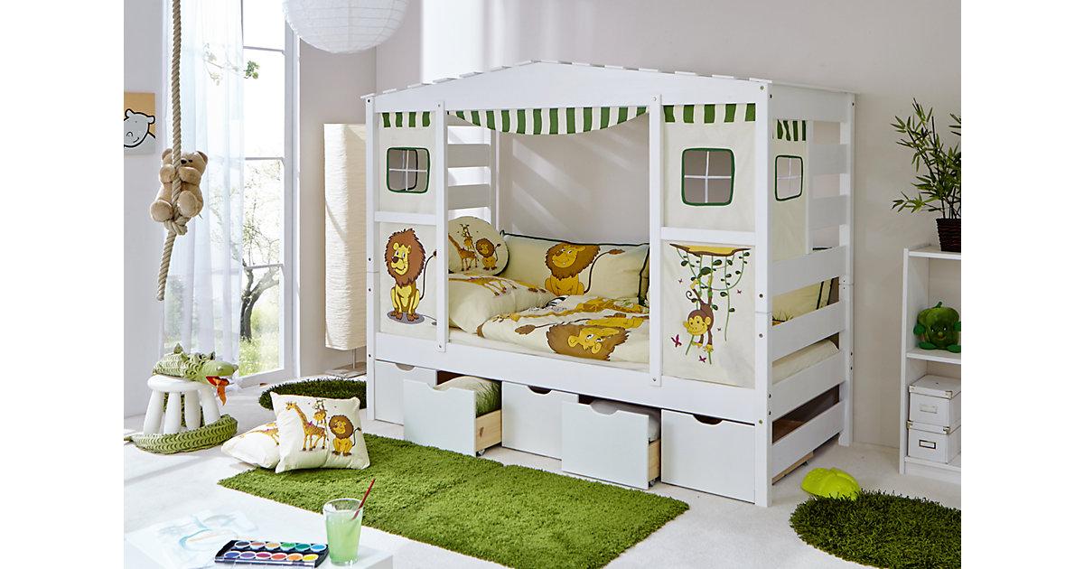 TICAA · Hausbett Safari mit 5er Schubkästen, grün, 90 x 200 cm
