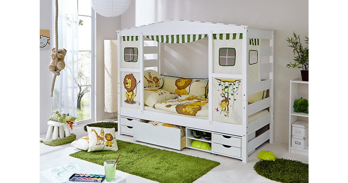 TICAA · Hausbett Safari mit Funktionsschubkasten, grün, 90 x 200 cm