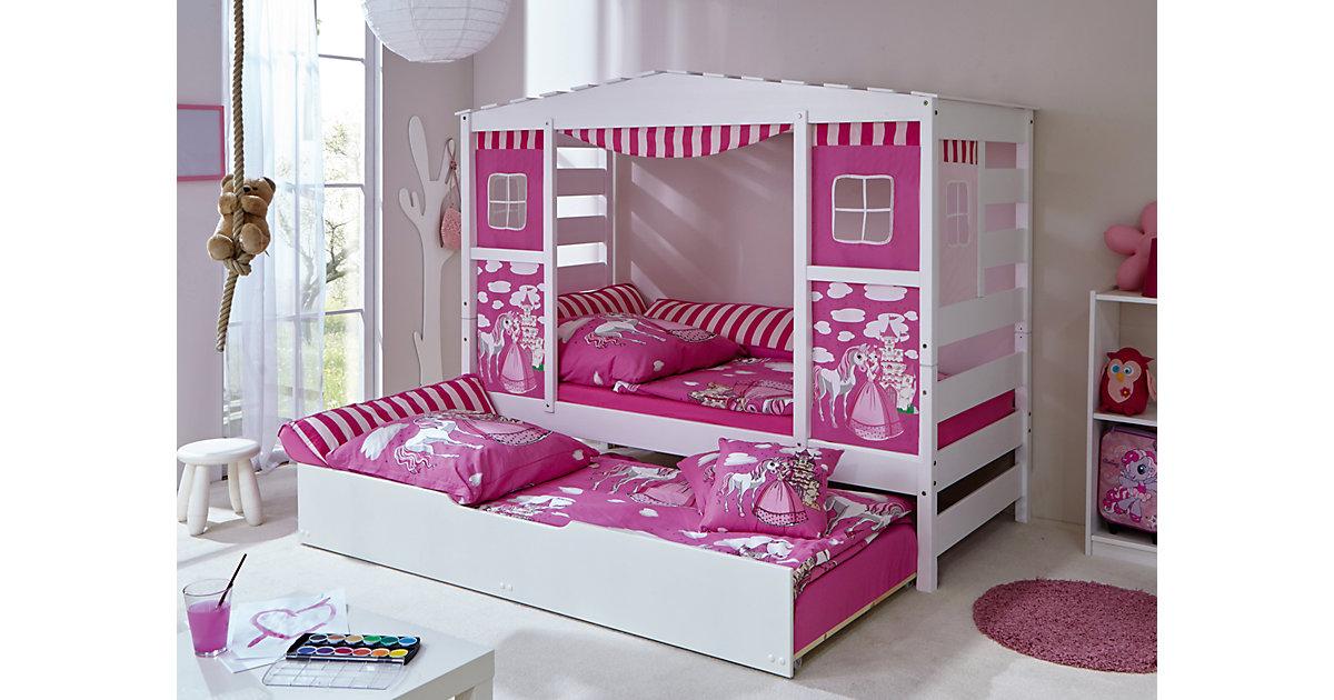 TICAA · Hausbett Pferde Prinzessin mit Zusatzbett, rosa, 90 x 200 cm