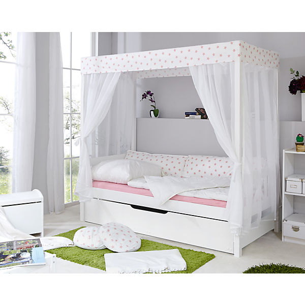 himmelbett stern mit zusatzbett wei rosa 90 x 200 cm ticaa mytoys. Black Bedroom Furniture Sets. Home Design Ideas
