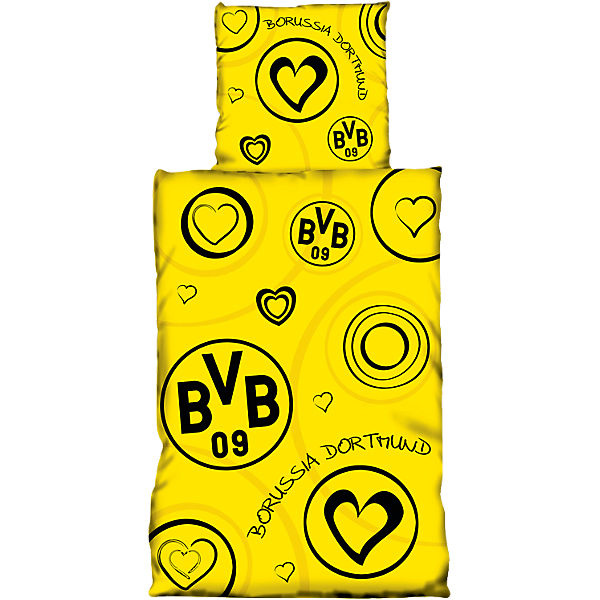 kinderbettw sche bvb mit herzen 135 x 200 cm fu ballverein borussia dortmund mytoys. Black Bedroom Furniture Sets. Home Design Ideas
