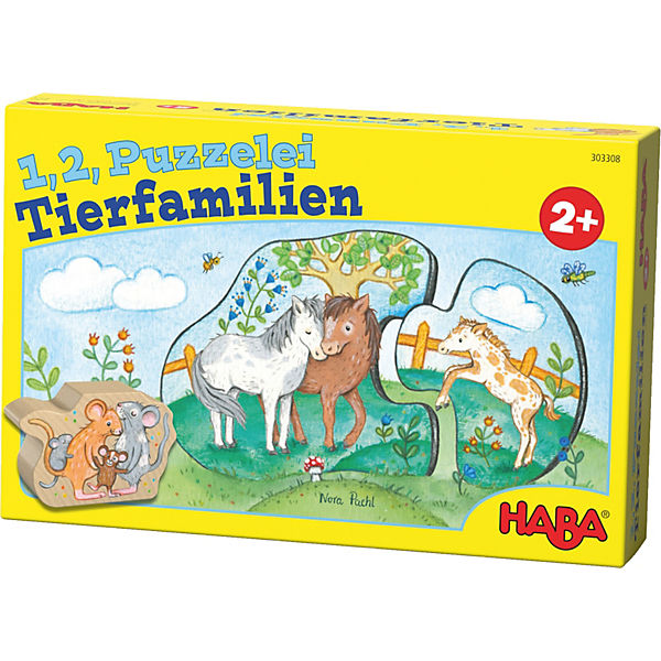 1, 2, Puzzelei - Tierfamilien, Haba