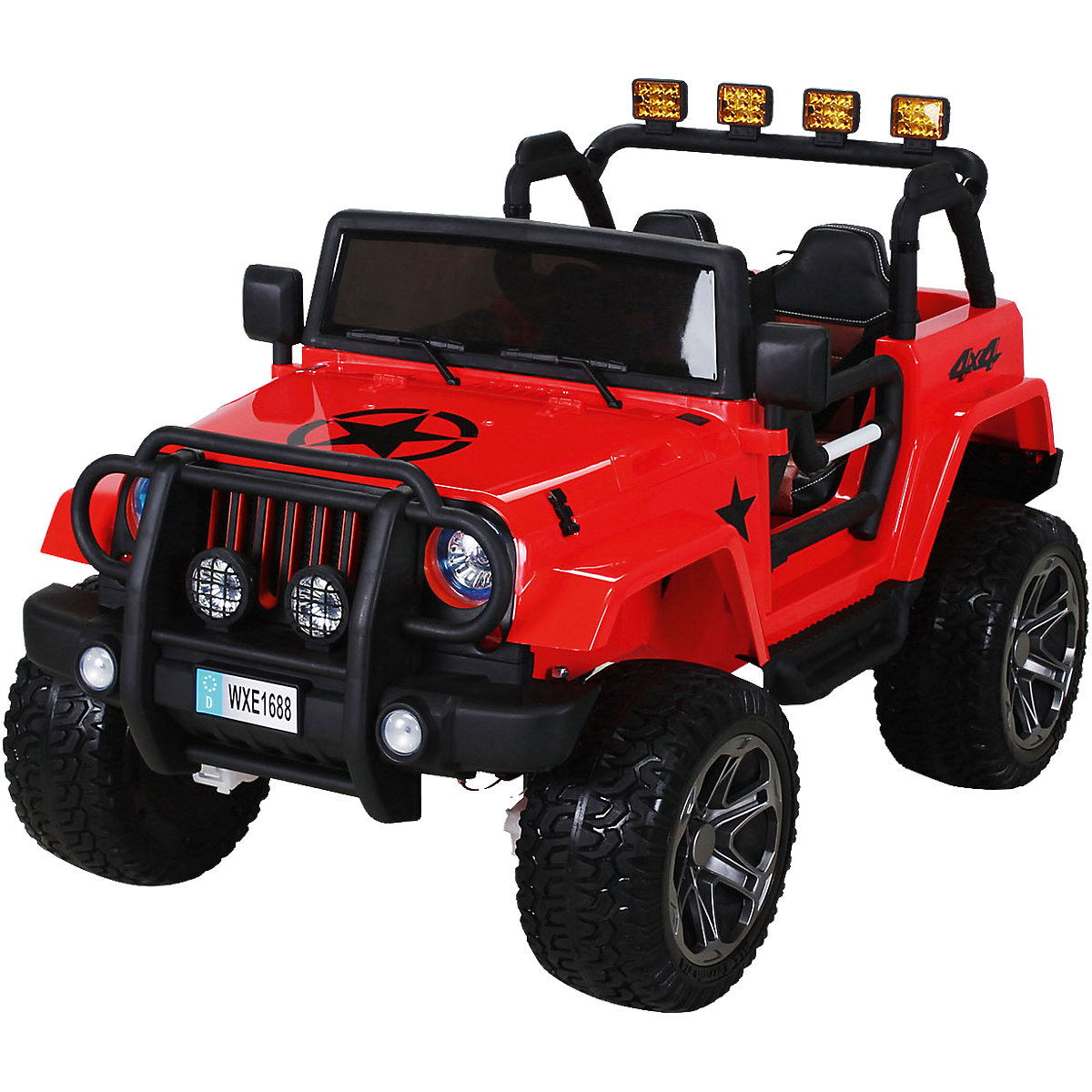 kinder elektroauto wrangler offroad jeep allrad 2 sitzer rot mytoys. Black Bedroom Furniture Sets. Home Design Ideas