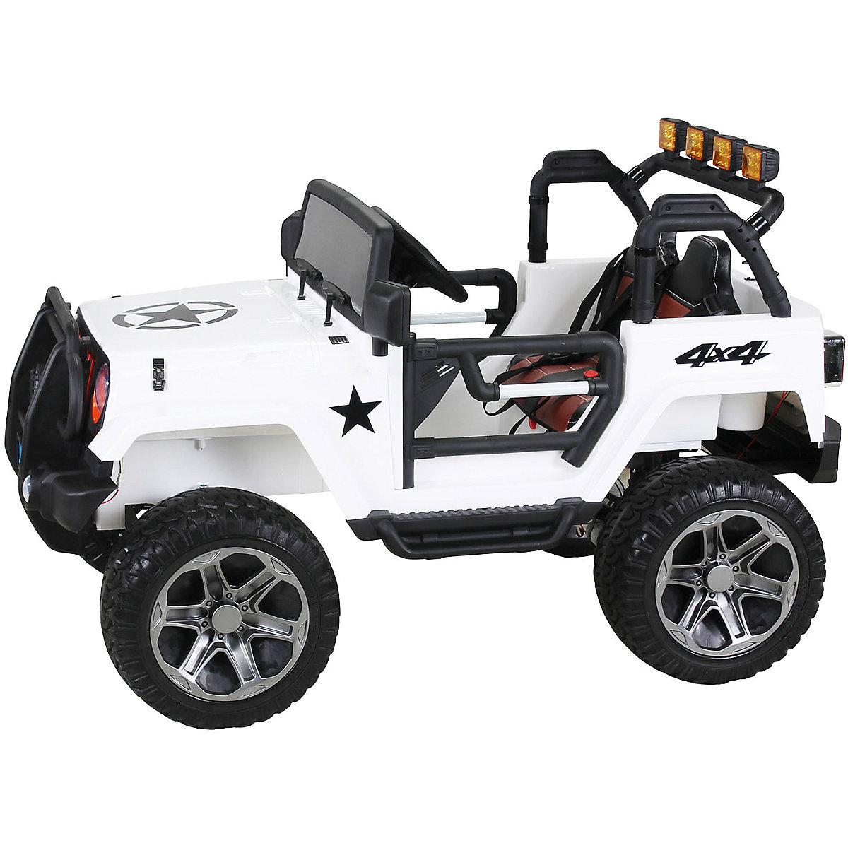 kinder elektroauto wrangler offroad jeep allrad 2 sitzer wei mytoys. Black Bedroom Furniture Sets. Home Design Ideas