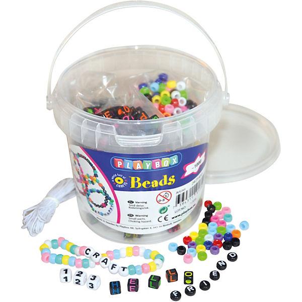 Buchstaben Zahlen Perlen Im Eimer 900 Stück Schnur Playbox