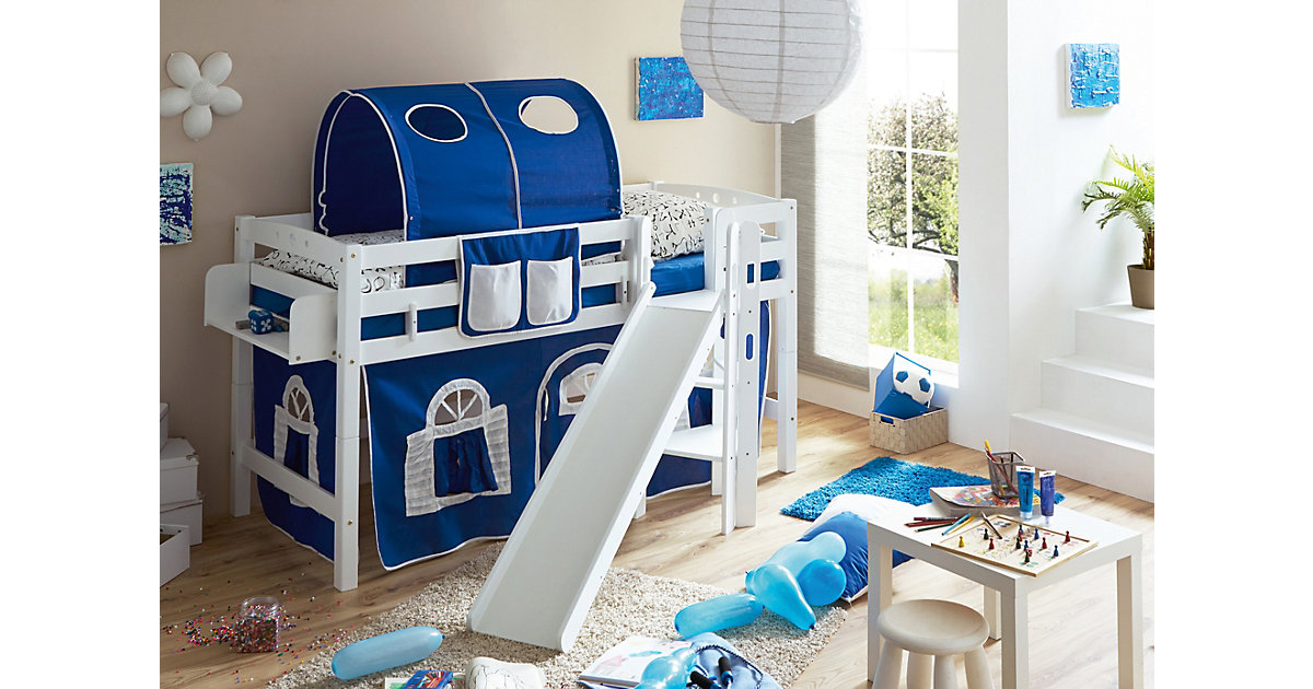 Spielbett Tino, Buche massiv, weiß lackiert, blau-weiß, 90 x 200 cm blau/weiß