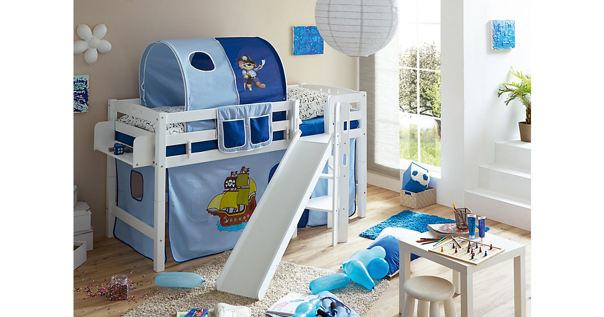Spielbett Tino, Buche massiv, weiß lackiert, Pirat, hellblau-dunkelblau, 90 x 200 cm