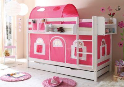 Etagenbett Rene : Etagenbett marcel kiefer massiv weiß lackiert rosa x