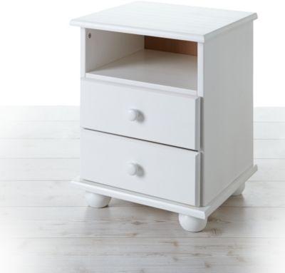 Nachtkommode Pascal Kiefer mit 2 Schubladen Weiß weiß