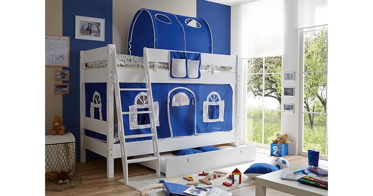 TICAA · Etagenbett KENNY G Schrägleiter, Buche massiv, weiß lackiert, blau-weiß, 90 x 200 cm