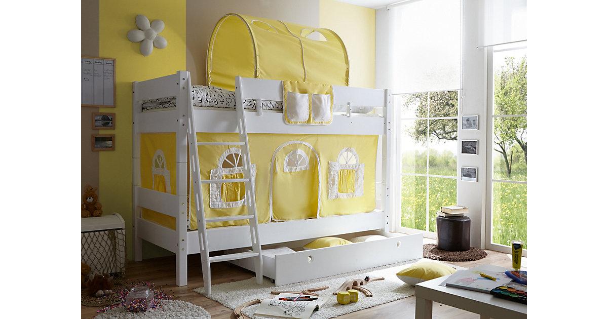 TICAA · Etagenbett KENNY G Schrägleiter, Buche massiv, weiß lackiert, gelb-weiß, 90 x 200 cm