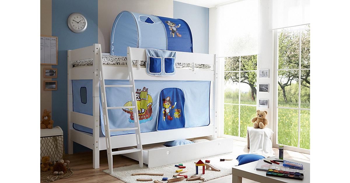 TICAA · Etagenbett KENNY G Schrägleiter, Buche massiv, weiß lackiert, Pirat, hellblau-dunkelblau, 90 x 200 cm