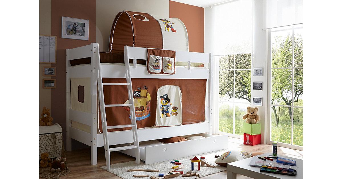 TICAA · Etagenbett KENNY G Schrägleiter, Buche massiv, weiß lackiert, Pirat, braun-beige, 90 x 200 cm