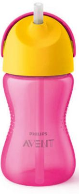 Чашка-поильник с трубочкой Philips Avent, 300 мл, розовый/желтый