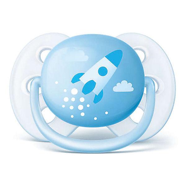 Силиконовая-пустышка Philips Avent, 0-6 мес, 2шт., голубая