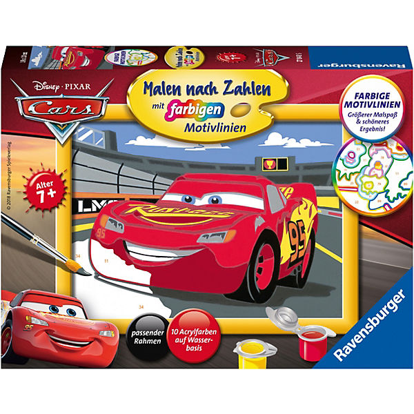 Malen Nach Zahlen 13x18 Cm Mit Farbige Motivlinien Disney Cars