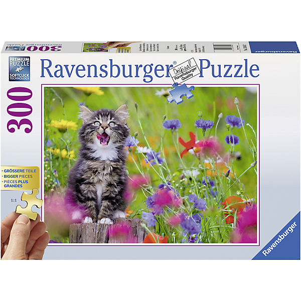 Puzzle 300 Teile 49x36 Cm Gold Edition Grossere Teile Katze Im Blumenmeer Ravensburger