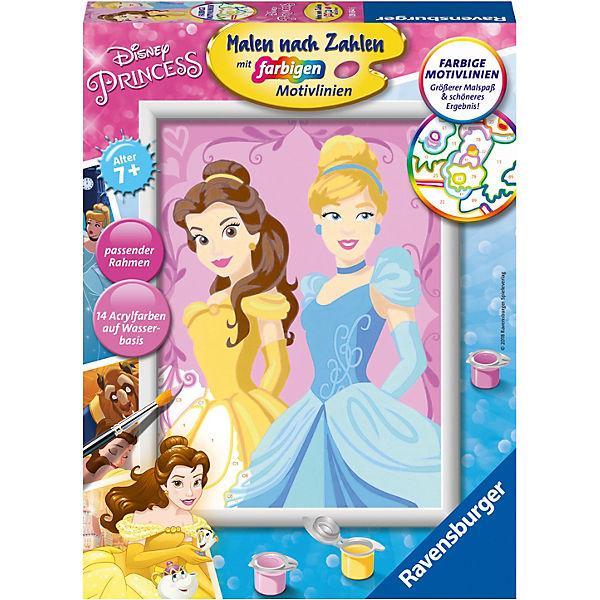 Malen Nach Zahlen 18x24 Cm Mit Farbigen Motivlinien Disney Princess Belle Cinderella Disney Princess