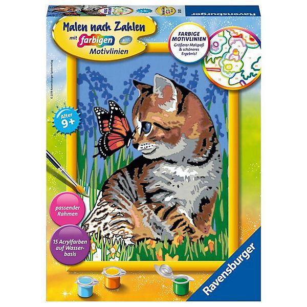 Malen Nach Zahlen 18x24 Cm Mit Farbigen Motivlinien Katze Mit Schmetterling Ravensburger