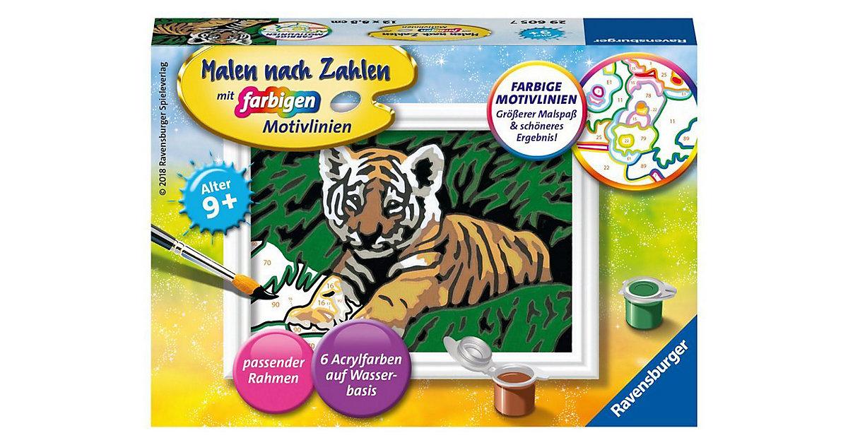 Malen nach Zahlen, 8,5x12 cm, mit farbigen Motivlinien, Süßer Tiger