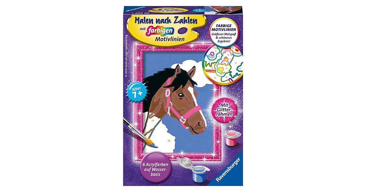 Malen nach Zahlen,  8,5x12 cm, mit farbigen Motivlinien & Glitterrahmen, Pferd
