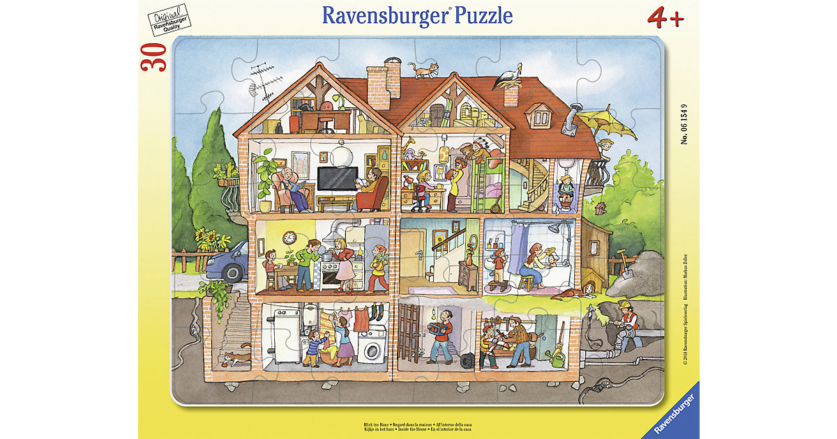 Rahmen-Puzzle, 30 Teile, 32,5x24,5 cm, Blick ins Haus