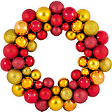 Новогодний венок из шариков Magic Land, 33 см (красный, золотой)