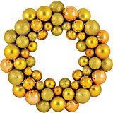 Новогодний венок из шариков Magic Land, 33 см (желтый)
