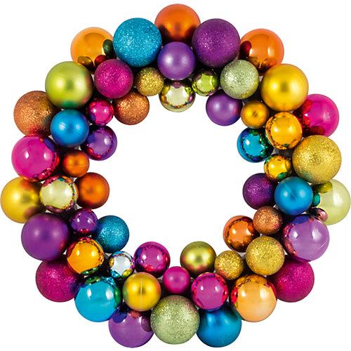 Новогодний венок из шариков Magic Land, 33 см (разноцветный) от Волшебная Страна
