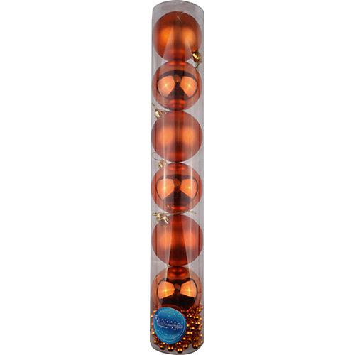 Новогодний набор Magic Land, 6 шаров 6 см, бусы 2 м