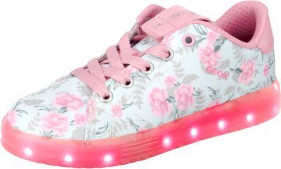 Sneakers KOMMODOR mit LED Sohle für Mädchen, Blumen, GEOX