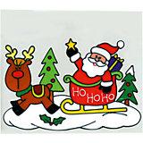 """Наклейка панно на окно Winter Wings """"Санта"""" 20х25 см, гелевая"""