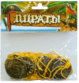 "Аксессуар для карнавала ""Пиратский медальон"" на шнурке, 9 шт."