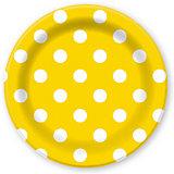 """Тарелки Патибум """"Горошек жёлтый"""" 23 см. ламинированные, 6 шт."""