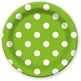 """Тарелки Патибум """"Горошек зелёный"""" 23 см. ламинированные, 6 шт."""