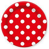 """Тарелки Патибум """"Горошек. Красный"""" 23 см бумажные ламинированные, 6 шт."""