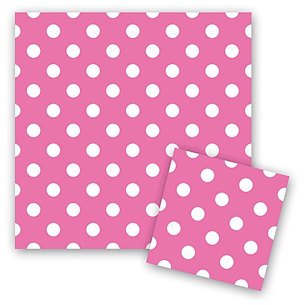 """Салфетки Патибум """"Горошек розовый"""" 33х33 см., 12 шт."""